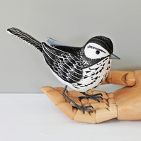 Fabric Bird - LINO STYLE,  Black and White - Made to Order