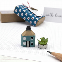 Miniature Wooden House, Pencil House, Housewarming Gift, Choice of Colours