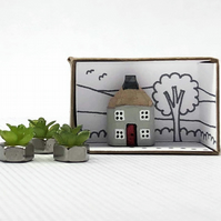 Miniature Wooden House, Pencil House, New Home Gift, Keepsake Gift