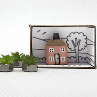 Miniature Wooden House, Pencil House, New Home Gift, Choice of Colours