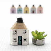 Miniature Wooden House with little faux plant, Housewarming Gift