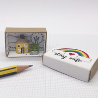 Miniature pencil house, Rainbow gift, Isolation gift, Stay safe