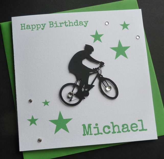 mountain bike personalised birthday card folksy