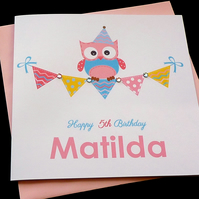 Owl & Bunting Personalised Card