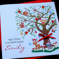 Woodland Tree Personalised Childrens Christmas Card