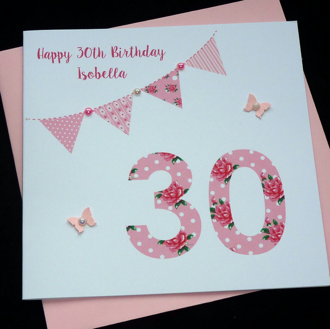 Handmade Personalised Bunting Birthday Card- Any Age- 16th 18th 21st 30th etc