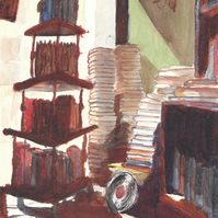 Giclee Art Print - Second hand  Bookshop in Watercolour