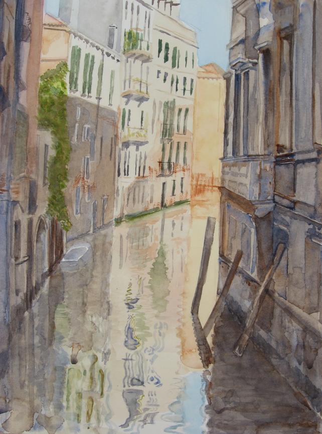 Giclee Art Print of  A Venice Backwater Watercolour Painting.