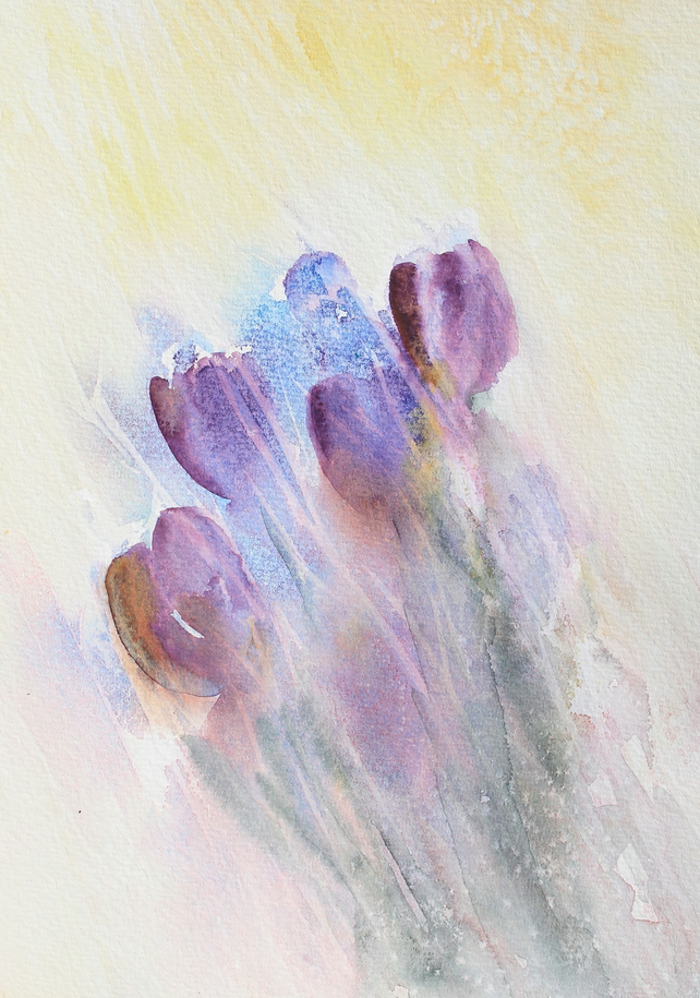 Giclee Art Print of Tulips in the Sun Watercolour Painting. 7.5 x 10