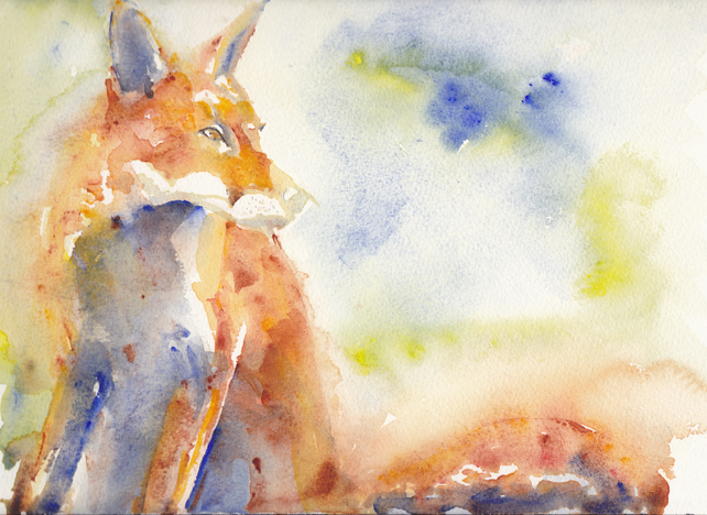 Giclee Art Print of A Red Fox Watercolour Painting.10 x 7.5