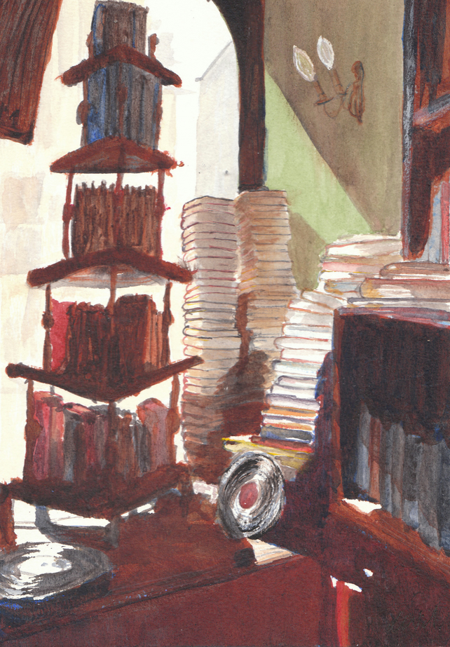 Greetings Card -Watercolour of Second-hand Bookshop window