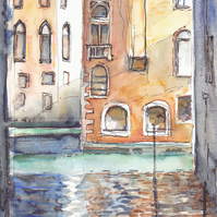 Greetings Card - Sunlight and Shadows in Venice