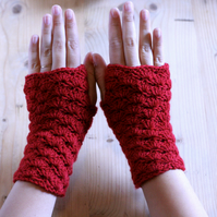 Crochet Wrist Warmers - Handmade - Wool and Cashmere mix - Red