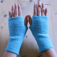 Hand Warmers - crochet - handmade - 100% wool - Bright sky blue