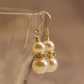 Sterling Silver Cream Pearl Earrings. Crystal Rondelle Pearl Drop Earrings