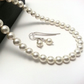 Classic Pearl Necklace and Earring Set. Small Pearl Bridal Set. Simple Wedding