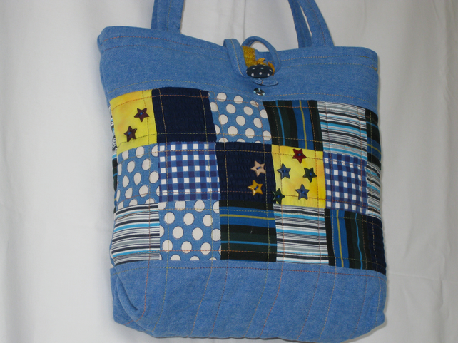 Stars and stripes denim tote bag