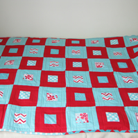 Red and Aqua  Square in a Square Quilt