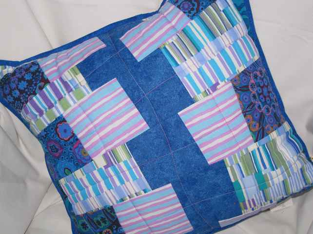 Blue random pieced cushion cover