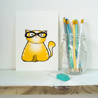 Ginger Spectacle Kitty Print