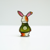 Gatsby the Rabbit in flower jumper Brooch!