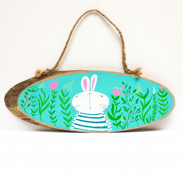 Handpainted Easter Bunny Wood slice.
