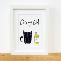 Cats and Gin Framed Print