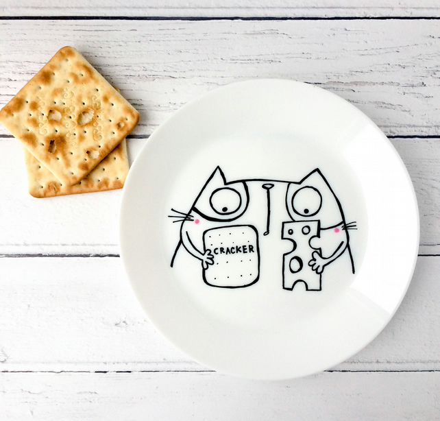 Kitty Cheese and Cracker plate