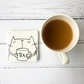 Tea Drinking Cat Coaster