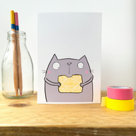 Custard Cream Biscuit cat Card.