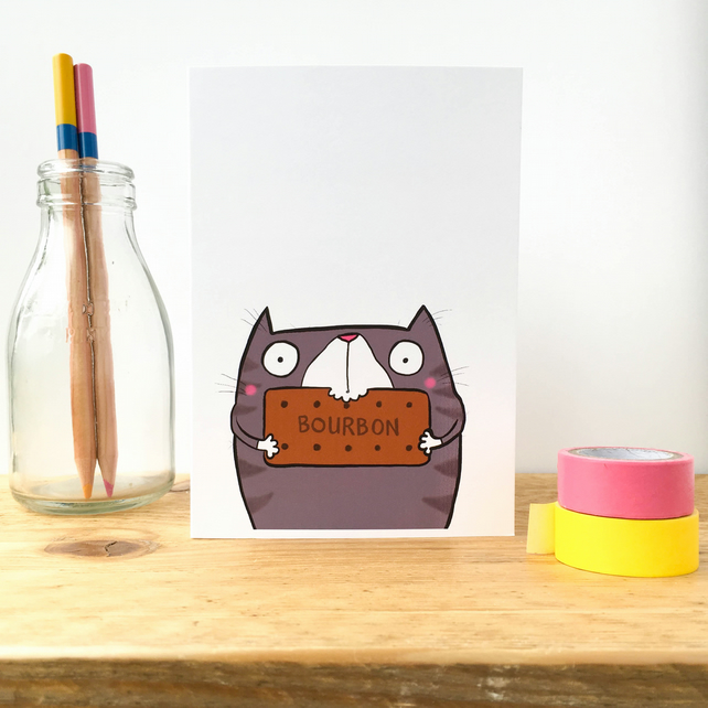 Bourbon Biscuit Cat Card