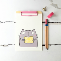 Custard Cream Biscuit Kitty, Illustrated Print