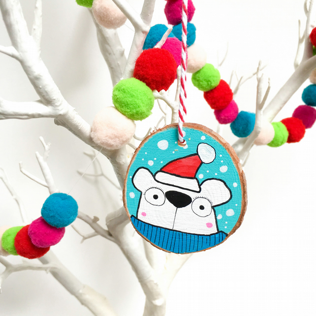 Festive Polar bear handpainted wooden Christmas decoration
