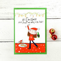 Drink prosecco and dance on the table Christmas card