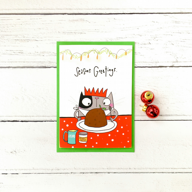 Christmas pudding cat card