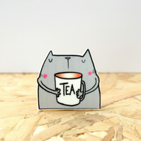 The cat that drinks tea pin badge!