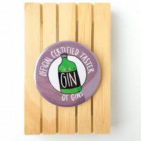 Official certified taster of gins badge.