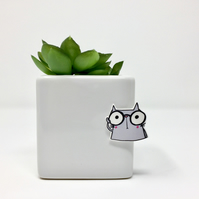 Geeky Cat pin badge