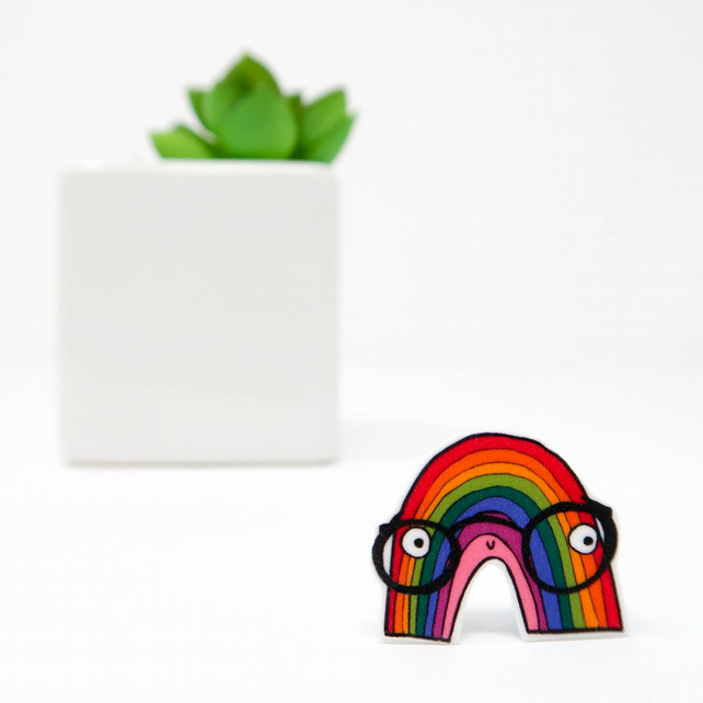 Rainbow geek pin badge
