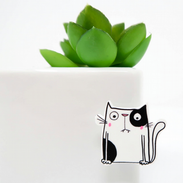 Black and White Cat Pin Badge