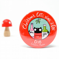 Christmas, cats, wine and gin club Badge.