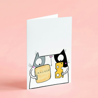 Cheese and Cracker Cat Card