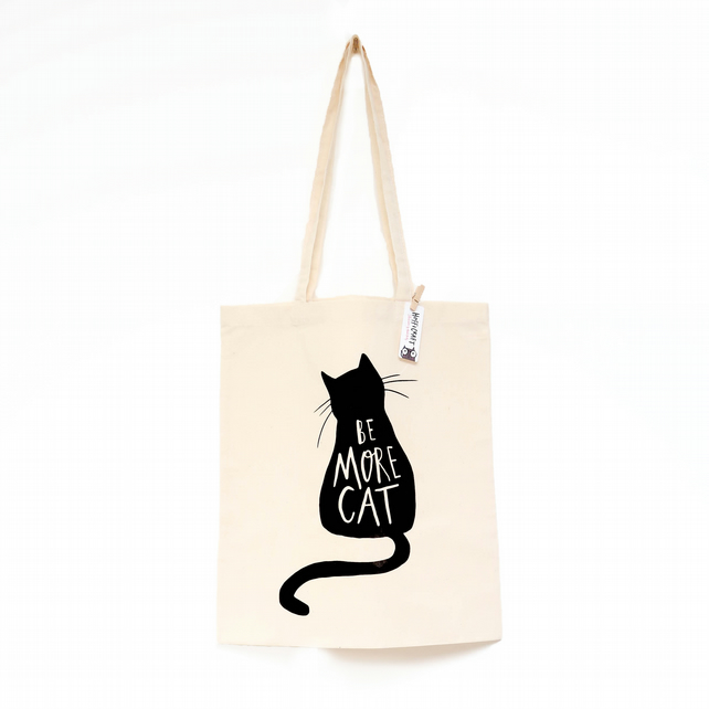 Single black cat with long cord handles Canvas cotton  shopping bag