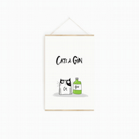 Cats and Gin Illustrated Print