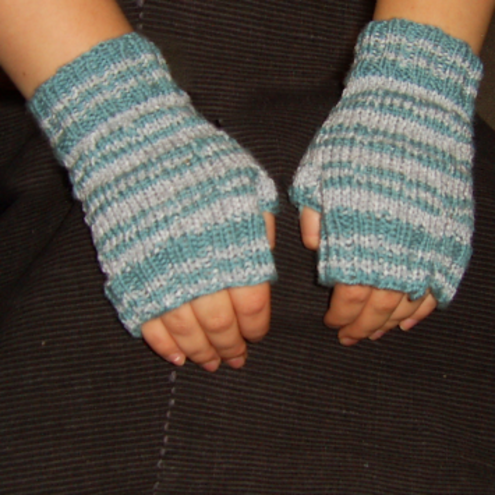 jade and grey fingerless mitts