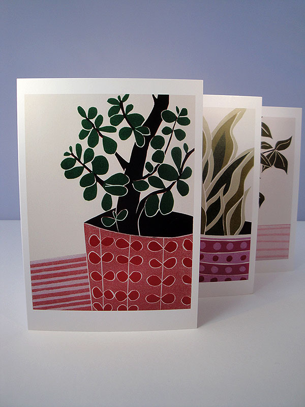 Botanical Cards - Lino Print Reproduction  - Set of 3