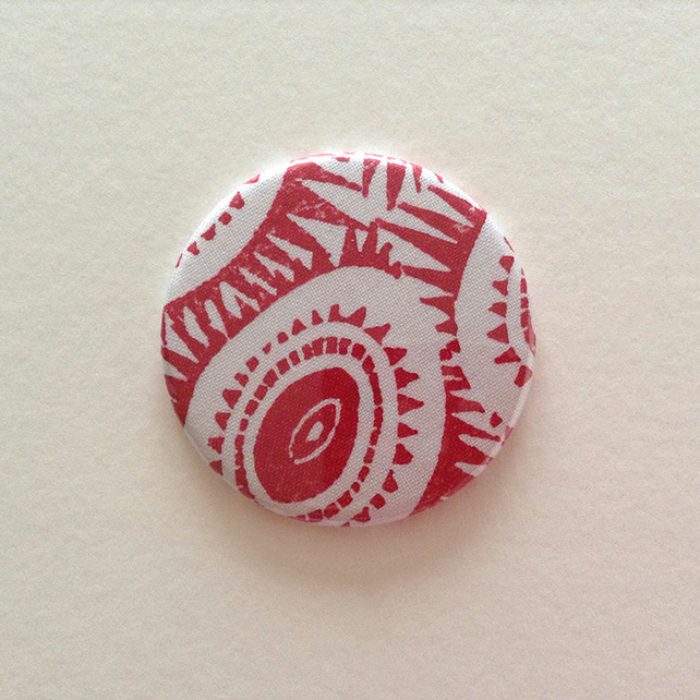 Fabric Covered Pocket Mirror - Red