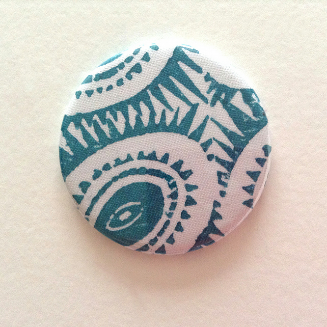 Fabric Covered Pocket Mirror - Turquoise
