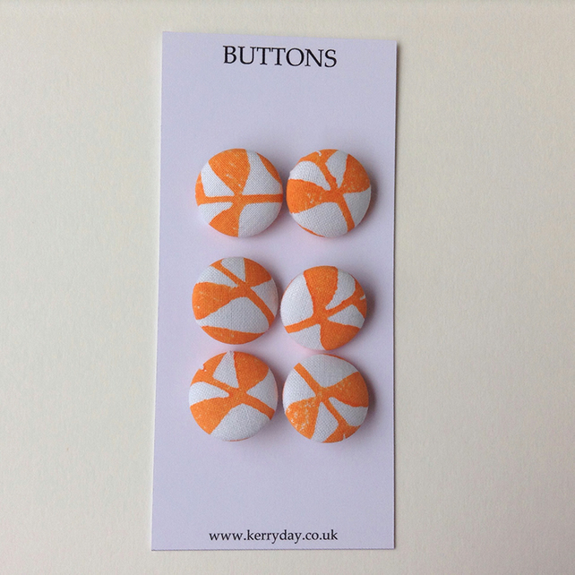 Fabric Covered Buttons - Orange