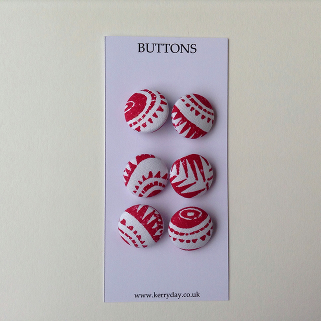 Fabric Covered Buttons - Red